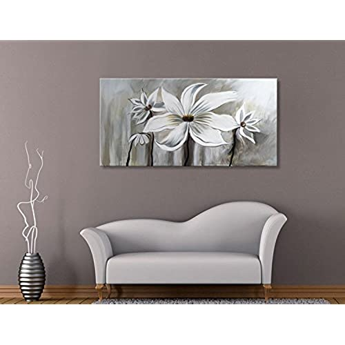 living room wall art.  on Canvas Floral Wall Art Abstract Black and White Lotus Modern Contemporary Artwork Decor for Bedroom Living Room Dining Framed Ready to Hang Very Large Amazon com
