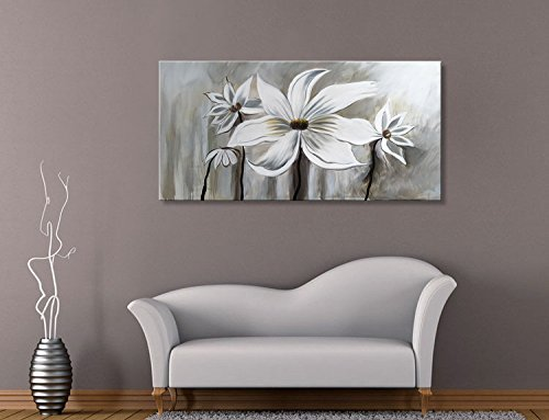 Seekland Art Hand Painted Large Flower Oil Painting On Canvas Floral Wall Art Abstract Black And White Lotus Modern Contemporary Artwork Decor For