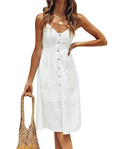 Jacansi Women Bohemian Sleeveless Knee-Length Button up Midi Dress with Pocket White XL