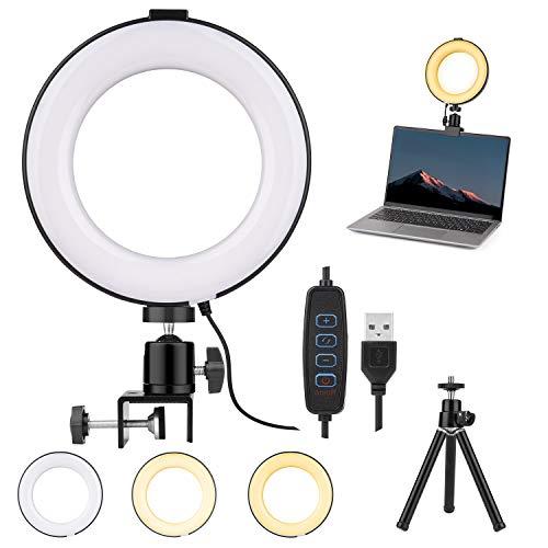 LED Ringlicht, 6 Zoll Ringlicht mit Stativ, Dimmbare Ringlicht Laptop Videokonferenz Licht mit 3 Lichtfarben, Selfie Ringleuchte mit Stativ Klemmhalterung für YouTube/TikTok/Selfie/Live-Stream/Makeup