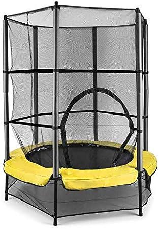 Klarfit Rocketkid Cama elástica Infantil (140 cm de diámetro, Red de Seguridad, Apta para Exterior o Interior, Peso máximo 50 kg, Varillas Acolchadas, Gran Estabilidad)