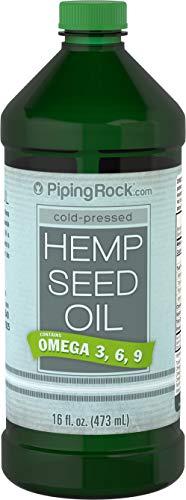 Piping Rock Hemp Seed Oil Cold Pressed 16 fl oz (473 mL) Bottle Omega 3 6 9