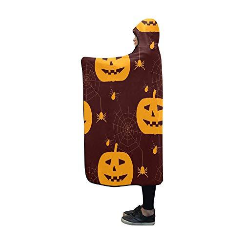 WUTMVING Hooded Blanket Halloween Silhouettes Spiders Blanket 60x50