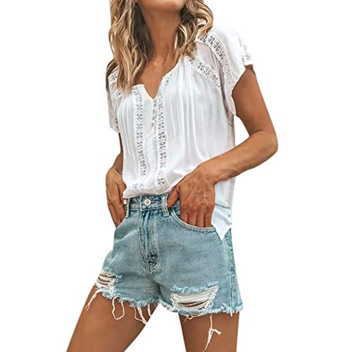 Pengy Women Lace V Neck Top Short Sleeve Shirt Hollow Out T-Shirt Lady Summer Short Blouse White -