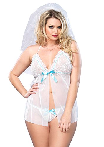 lus Size Sheer Mesh Babydoll with Lace Ruffle and G-String, White, One Size (Leg Avenue Mesh Lingerie Set)