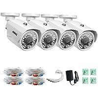 ANNKE (4) HD-AHD 720P / 1280TVL Security Camera, 1.0MP 1/4 color CMOS sensor, IP66 Weatherproof In/Outdoor Fixed CCTV Camera (White)
