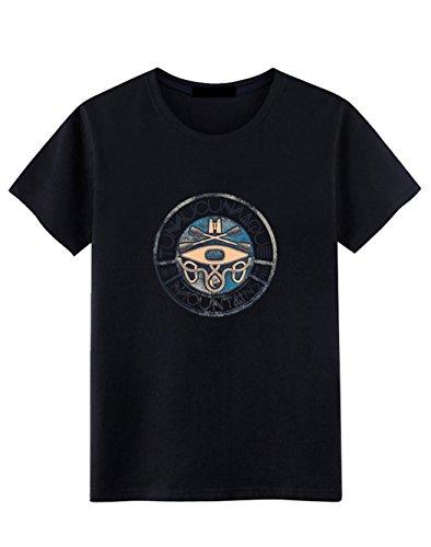 Jovono Fashion Mens Round Neck T-Shirt Printing Casual Short Sleeve Tee Cotton Black Short Tops (XXXX-Large) by Jovono (Image #8)