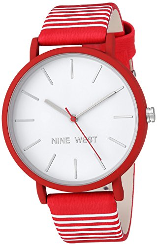 Nine West Women's Quartz Metal and Polyurethane Dress Watch, (Red Polyurethane Watch)