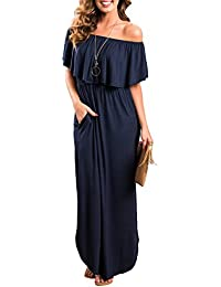 Womens Off The Shoulder Ruffles Pockets Dress Side Split Maxi Dresses