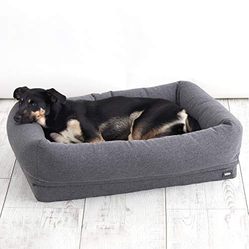 Barkbox 2-in-1 Memory Foam Dog Bolster Bed | High Density 3'' Orthopedic Joint Relief Crate Lounger or Donut Pillow Bed…
