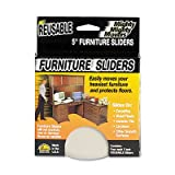 Mighty Mighty Movers Reusable Furniture Sliders, Round, 5'' Dia., Beige, 4/Pack