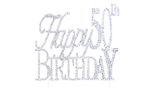 Happy 50th Birthday Rhinestone Crystal Cake Topper Silver, Numbers, Letters for Wedding, Birthday, Anniversary, Party. Shine & Sparkles. PREMIUM RHINESTONE. BEST OFFER ON AMAZON. (50th Anniversary Metal)