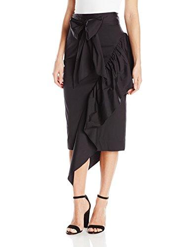 MILLY Women's Cascade Tie Skirt, Black, 8