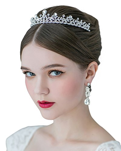 SWEETV Crystal Wedding Tiara for Bride - Princess Tiara Headband Pageant Crown, Bridal Hair Jewelry for Women and Girls, -