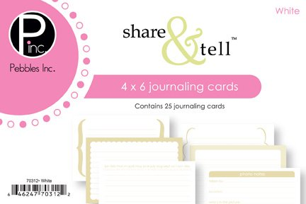 Pebble 4 Inch x6 Inch Share & Tell Journaling Cards - 25PK/White
