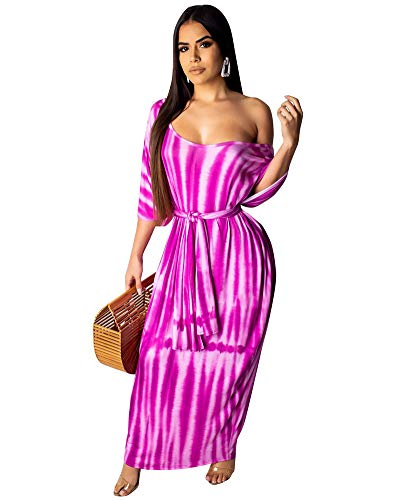 Women Sexy Maxi Stripes Dresses- Plus Size Summer Short Sleeve Long Beach Dress with Belt Purple 2XL