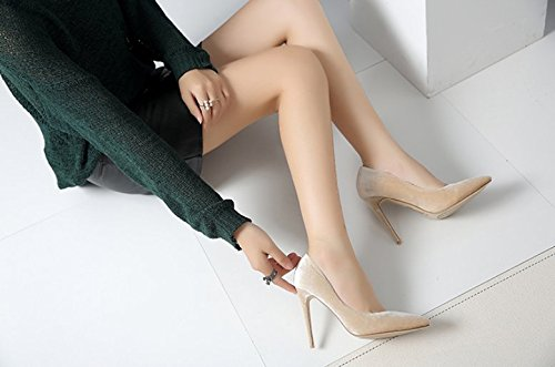 Pointed 34 Shoes Work Elegant MDRW Head Simplified Heel Women Shoes Suede Shoes Single Leisure Heel 10Cm Lady Spring High Naked Fine 0REqEZ