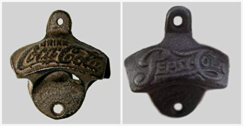 - Rustic Cast Iron SET of TWO - PEPSI & COKE Wall Mount Bottle Openers - Vintage Collectible