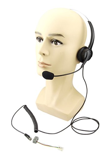 Xfox 4-pin RJ9 Call Center Hands-free Headset with Monaural Mic Noice Cancelling and Extra Cushions for Universal Avaya Nortel Nt Yealink Ge Emerson Office Desktop (Ge Telephone Headset)