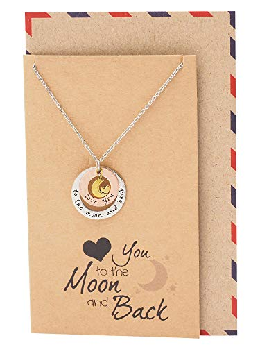 Quan Jewelry Heart Moon Necklace, I Love You to The Moon and Back Charm, Birthday for Her, Handmade with Quote Card