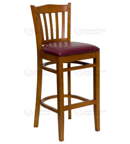 HERCULES Series Cherry Finished Vertical Slat Back Wooden Restaurant Bar Stool with Burgundy Vinyl Seat