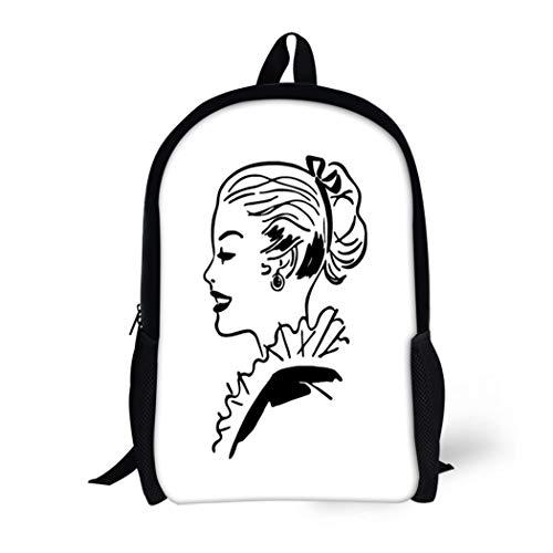 Pinbeam Backpack Travel Daypack 1940S Ponytail Gal Retro 1950S 40S 50S Americana Waterproof School -