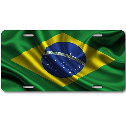 (CUSTOM LICENSE PLATE BRAZIL BRAZILIAN NATIONAL FLAG ALUMINUM WAVE BRAND NEW)
