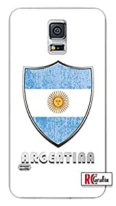 Premium Argentina Flag Badge Direct UV Printed Samsung Galaxy Note 3, Note III Quality TPU SOFT RUBBER Snap On Case for Samsung Galaxy Note 3 - AT&T Sprint Verizon - White Case