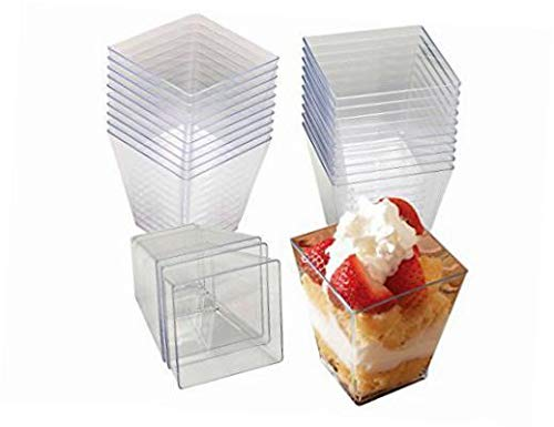 12 Disposable Mini Clear Square 4oz Bowls by Royal