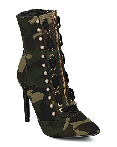 Alrisco Vrouwen Puntige Neus Faux Parel Studs Steek Veter Pointy Stiletto Enkellaars - Hf56 Door Cape Robbin Collectie Camouflage Stof