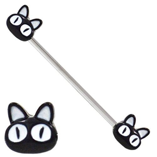 Cute Black Cat face ends Industrial bar ring Earring 1-1/2 (35mm) 14g Cat Eye Bar End