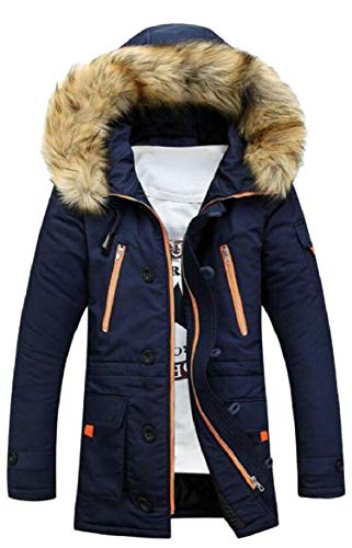 security Men Hooded Cotton Padded Parka Outerwear Jacket Coats 1
