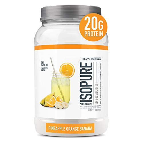 "Isopure Infusions, Refreshingly Light Fruit Flavored Whey Protein Isolate Powder,""Shake Vigorously & Infuses in a Minute"", Pineapple Orange Banana, 36 Servings"