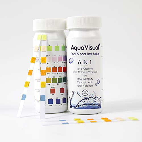 6 in 1 Pool Test Strips 100 Counts for Pool, Spa, Hot Tubs. Pool Test Kit for Total Hardness, Total Chlorine, Bromine, PH, Total Alkalinity, Cyanuric Acid 100 Counts in 2 Packs by AquaVisual