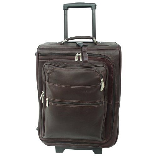Piel Leather 19 Inch Multi-Pocket Wheeler, Chocolate, One ()