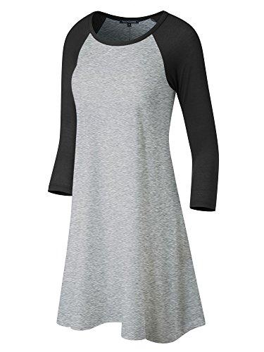Fashion California FACA Womens Baseball 3/4 Raglan Sleeve Jersey Tunic Dress (Large, H.Grey/Black) -