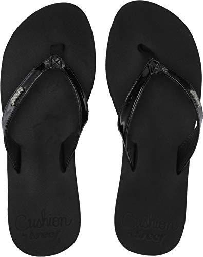 (Reef - Womens Cushion Luna Sandals, Size: 5 B(M) US, Color: Black Patent)