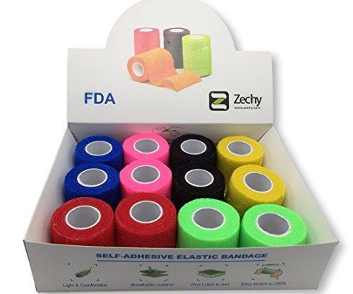 maDDma cinta–Athletic Wrap–12rollos adhesivas (arco iris)–5,1cm por 15pies, Arcoiris (Rainbow)