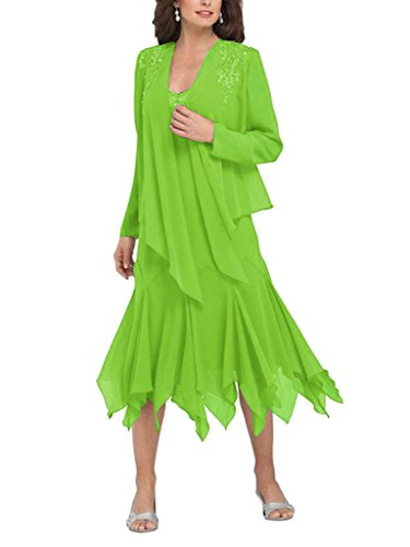 H The D Mother Lemon Dress Ruffles Jacket With Women's Of Chiffon S Green Bride UUwrqx0