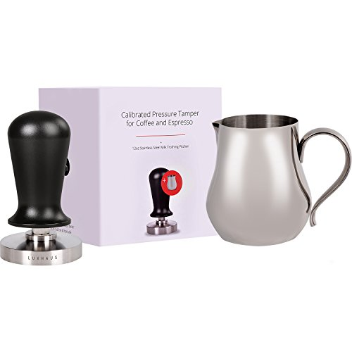 LuxHaus 58mm Calibrated Pressure Tamper with 12oz Stainless Steel Milk Frothing Pitcher