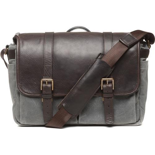 ONA Brixton Leather Messenger Bag (50/50 Smoke Waxed Canvas/Dark Truffle) by Ona