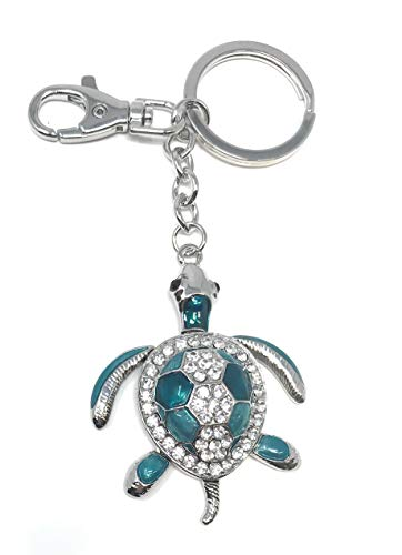 Kubla Crafts Bejeweled Articulated Turquoise Sea Turtle Key Chain, 5.25 Inches Long