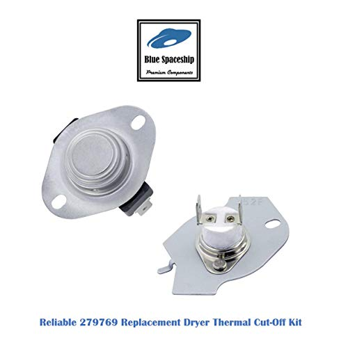 (Reliable 279769 Dryer Thermal Cut-Off Kit Replacement Part Fit for Whirlpool, KitchenAid, Roper, Estate Dryers- 1 set/pack, Replace part No. 3977394 3398671 3389946 AP3094224 695563 3390291)