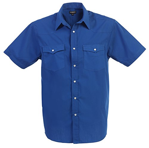 Gioberti Mens Casual Western Solid Short Sleeve Shirt With Pearl Snaps, Royal Blue, 2X Large
