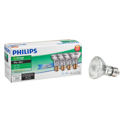 Philips Halogen Dimmable PAR20 Flood Light Bulb: 2900-Kelvin, 39-Watt (50-Watt Equivalent), E26 Medium Screw Base, Soft White, 4-Pack by Philips