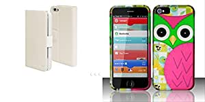 Combo pack Cellet White Mag Flip Secure Case for iPhone 5 And For iPhone 5 - Rubberized Design Cover - Owl