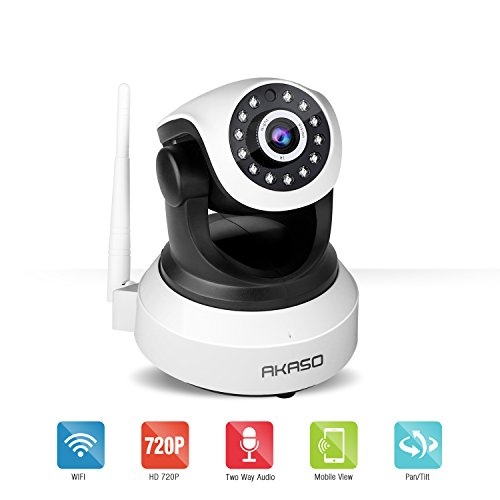 AKASO IP1M-903 Wireless 720P IP camera Wifi Security Home Monitoring CCTV Surveillance Network Webcam Pan/Tilt Video Surveillance 2 way Audio SD Card Slot Night Vision