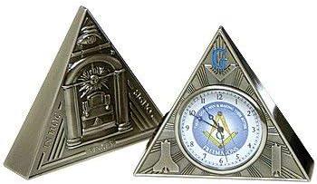 All Seeing Eye Triangular Masonic Desk Clock – Antique Brass 2 5 8 Tall