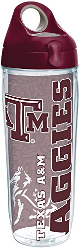 Texas Water Aggies A&m (Tervis 1220312 Texas A&M Aggies College Pride Tumbler with Wrap and Maroon Lid 24oz Water Bottle, Clear)