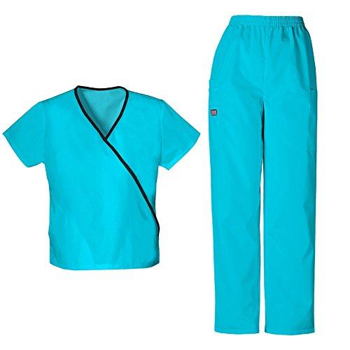 Mini Wrap Cotton Mock - Cherokee Women's Workwear Mini Mock Wrap Top 4800 & Pull On Pant 4200 Scrub Set (Turquoise - Small/Small Petite)